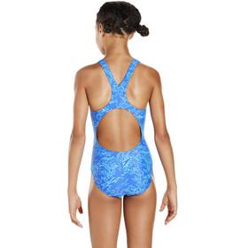 speedo Boom Allover Splashback Swimsuit Girls Amparo Blue/Turquoise